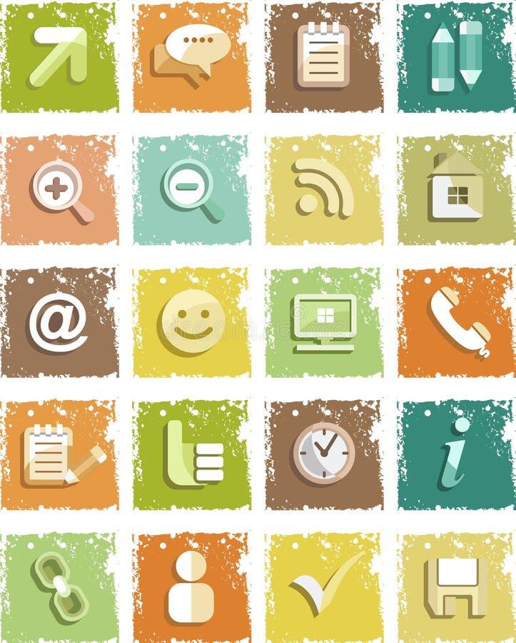 Grunge social del establecimiento de una red de los iconos stock de ilustración