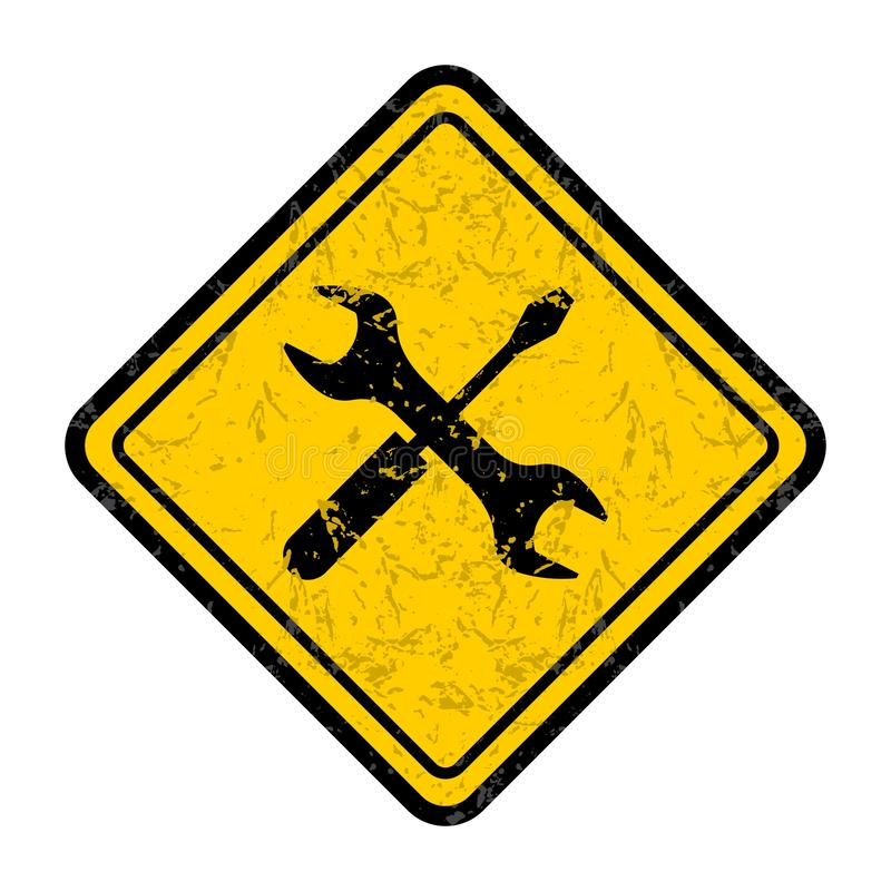 Grunge som skrapas under varnande vägmärke för konstruktion vektor illustrationer