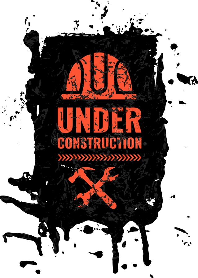 Grunge som skrapas under varnande vägmärke för konstruktion stock illustrationer
