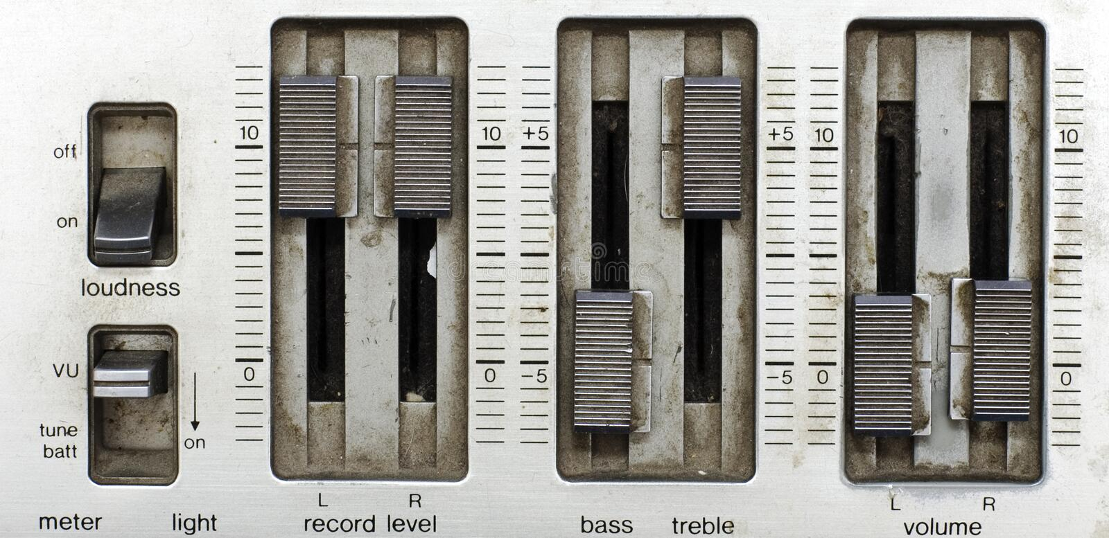 Grunge sound mixer console. Very old tape-record royalty free stock image
