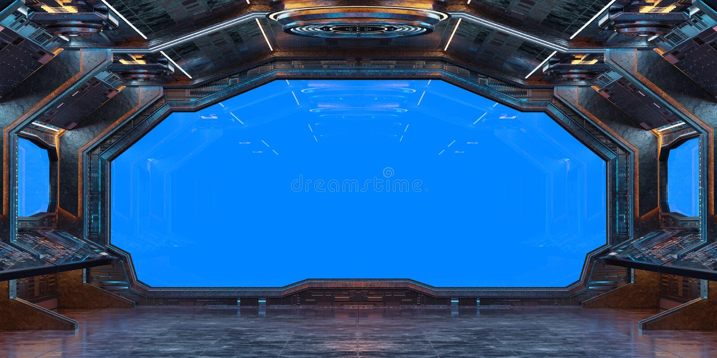 Grunge Spaceship interior background 3D rendering vector illustration