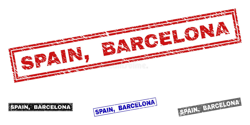 Grunge SPAIN, BARCELONA Textured Rectangle Stamp Seals stock illustration