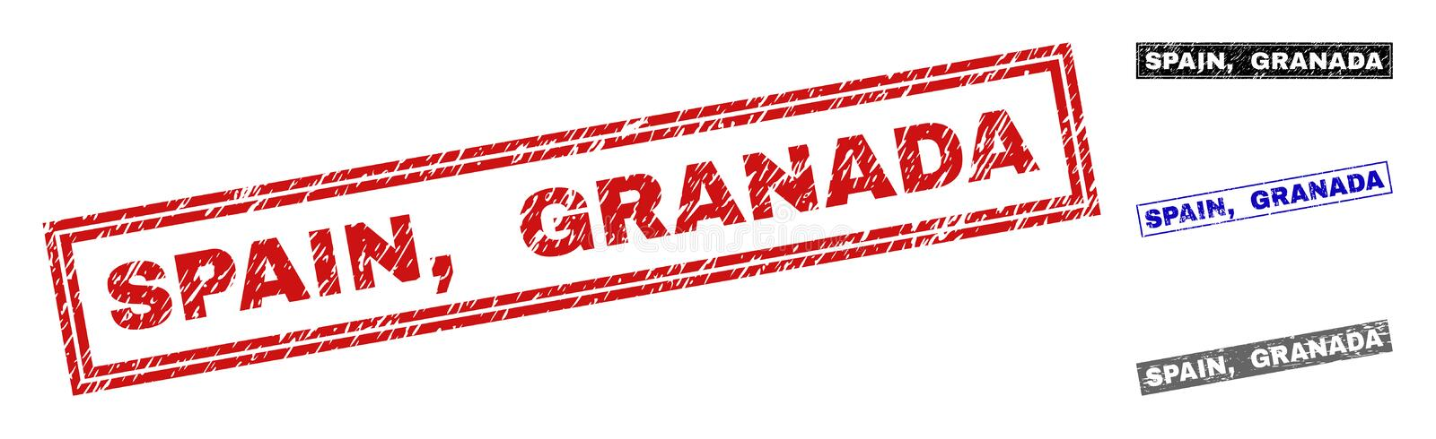 Grunge SPAIN, GRANADA Scratched Rectangle Stamps royalty free illustration
