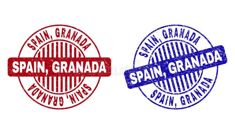 Grunge SPAIN, GRANADA Scratched Round Stamp Seals vector illustration