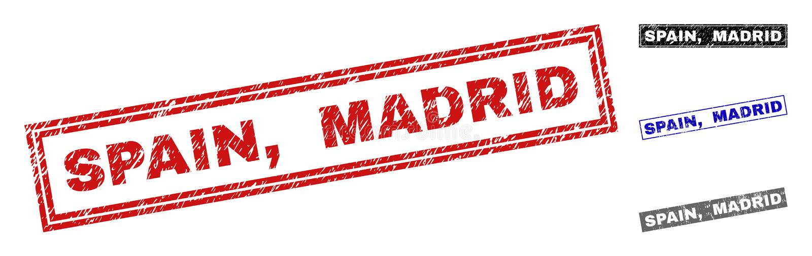 Grunge SPAIN, MADRID Scratched Rectangle Watermarks royalty free illustration