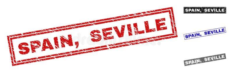 Grunge SPAIN, SEVILLE Textured Rectangle Stamp Seals stock illustration