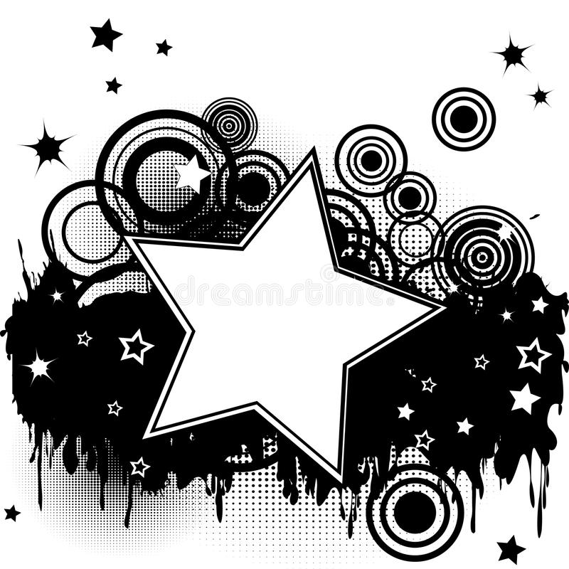 Grunge splash background with stars and circles royalty free illustration