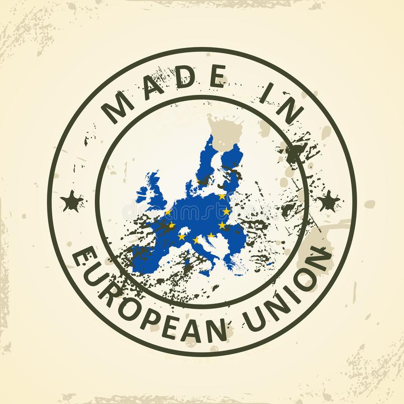Stamp with map flag of European Union 2015 royalty free illustration