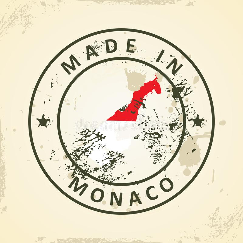 Stamp with map flag of Monaco stock illustration