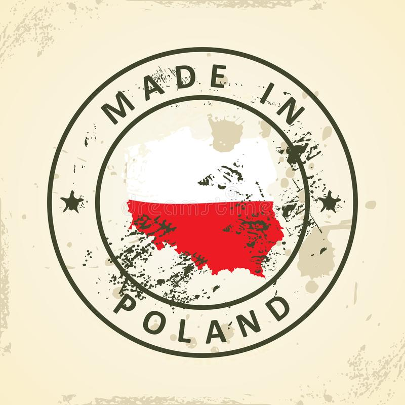 Stamp with map flag of Poland royalty free illustration