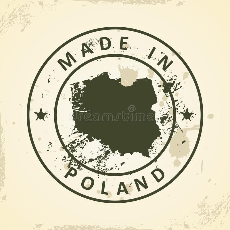 Stamp with map of Poland. Grunge stamp with map of Poland - vector illustration stock illustration