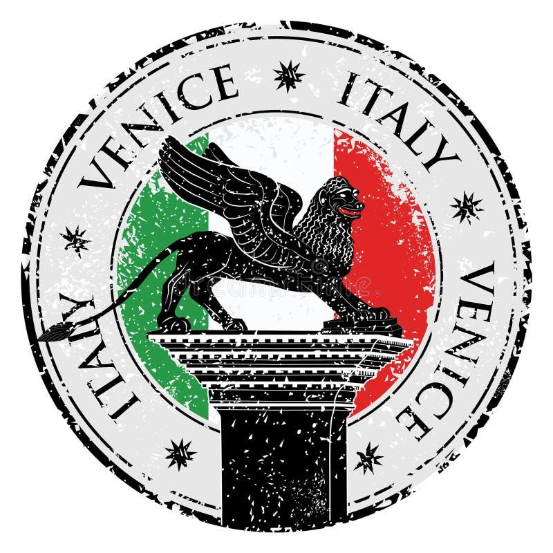 Grunge stamp of Venice, flag of Italy inside, vector illustration stock illustration