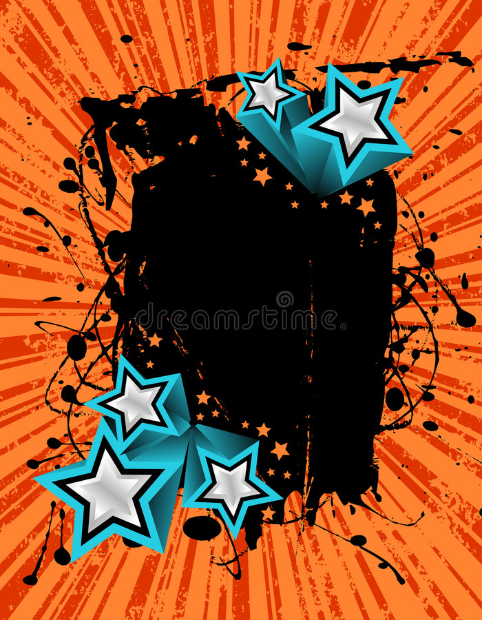Grunge star banner. Vector illustration of a grunge banner ready for your text with 3D silver stars