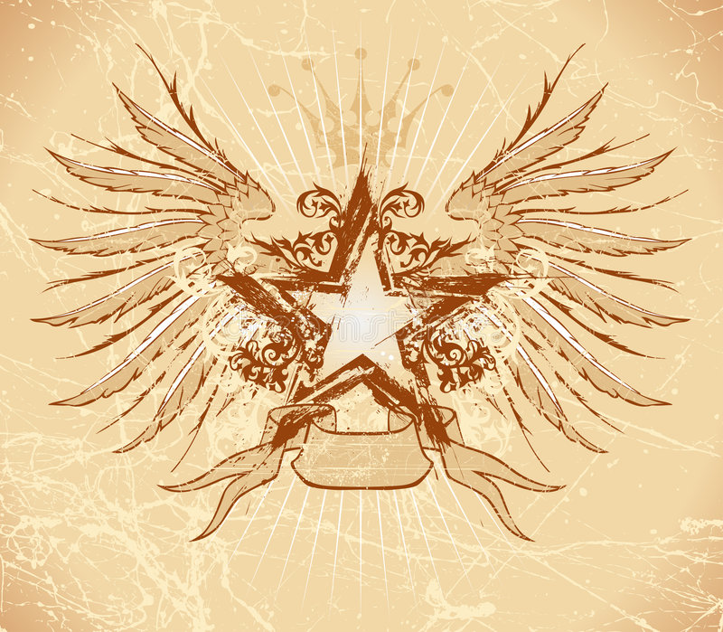 Grunge star & wings royalty free illustration