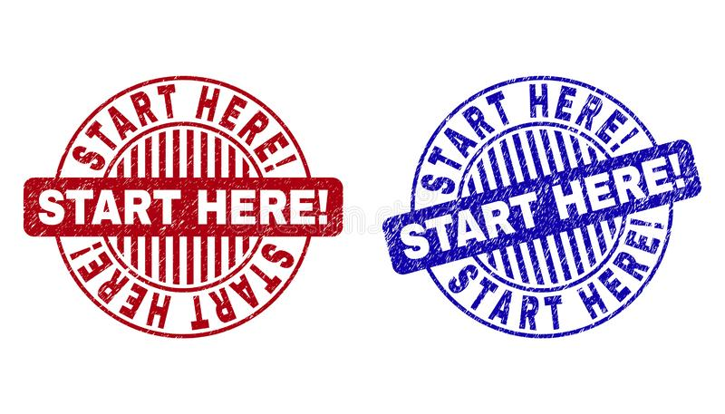 Grunge START HERE! Textured Round Stamps. Grunge START HERE! round stamp seals isolated on a white background. Round seals with grunge texture in red and blue royalty free illustration