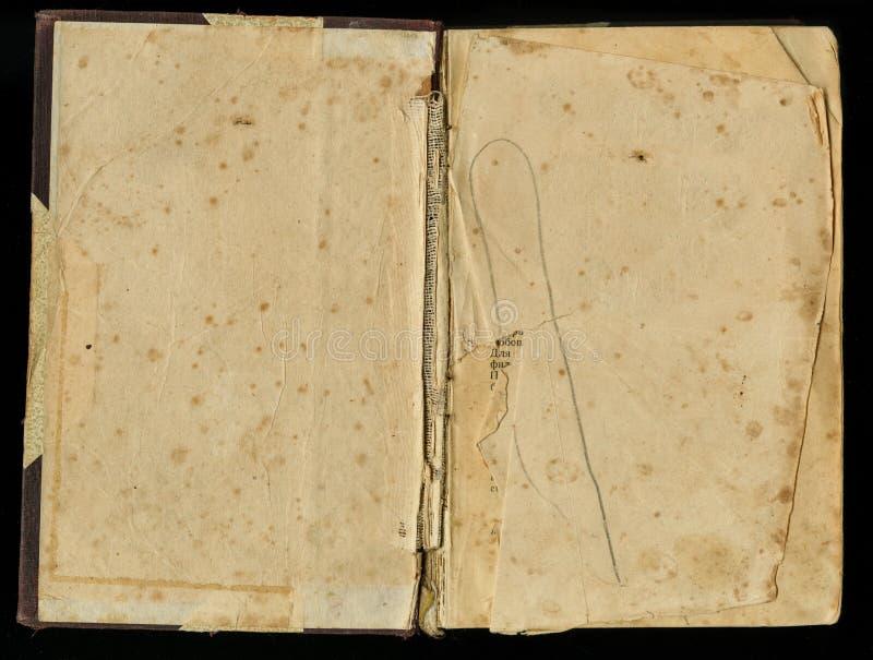 Grunge stary papier dla skarbu rocznika lub mapy księga smudged ciemności książkowy rozwijającym się obrazy royalty free