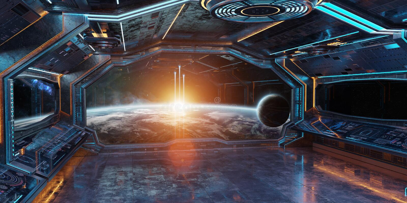 Grunge statku kosmicznego wnętrze z widokiem na planety ziemi 3D renderingu ilustracja wektor