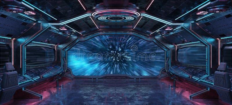 Grunge statku kosmicznego wnętrze z widokiem na planety ziemi 3D renderingu royalty ilustracja
