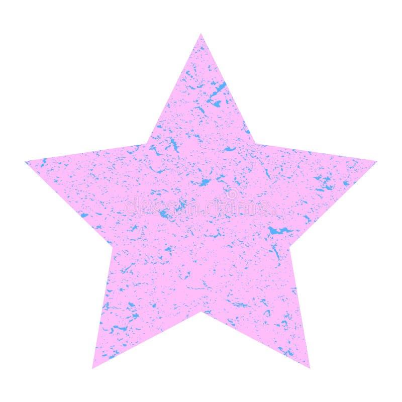 Grunge Stern Rosa Pastellstern mit Beschaffenheit auf einem lokalisierten wei?en Hintergrund Abbildung lizenzfreie abbildung
