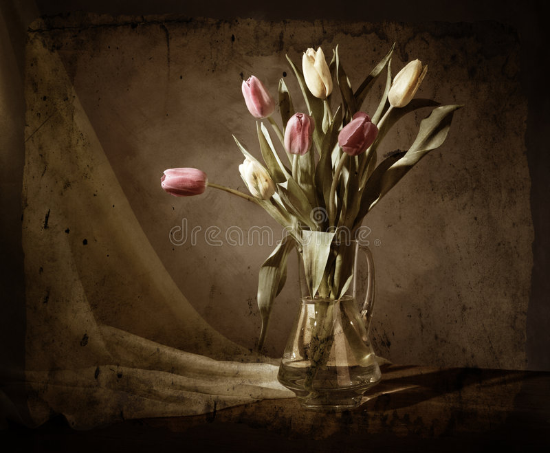 Download Grunge Still-life With Tulips Stock Image - Image of spring, flower: 8455435