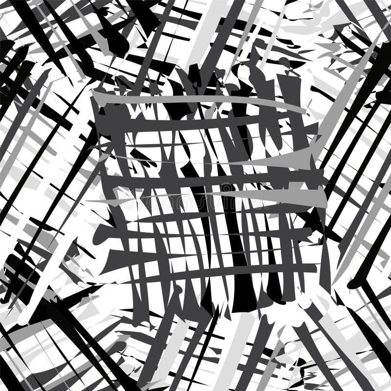 Grunge striped безшовная картина в черных, белых, серых цветах иллюстрация вектора