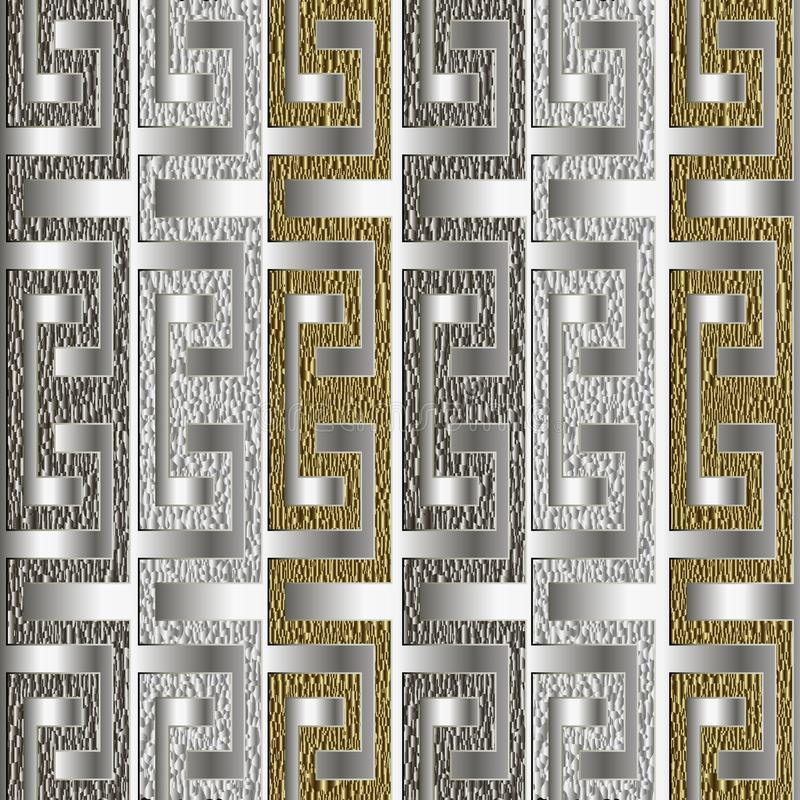 Grunge striped gold silver 3d greek vector seamless pattern. Geometric modern grungy glitter background. Repeat patterned ornate. Borders backdrop. Ancient vector illustration