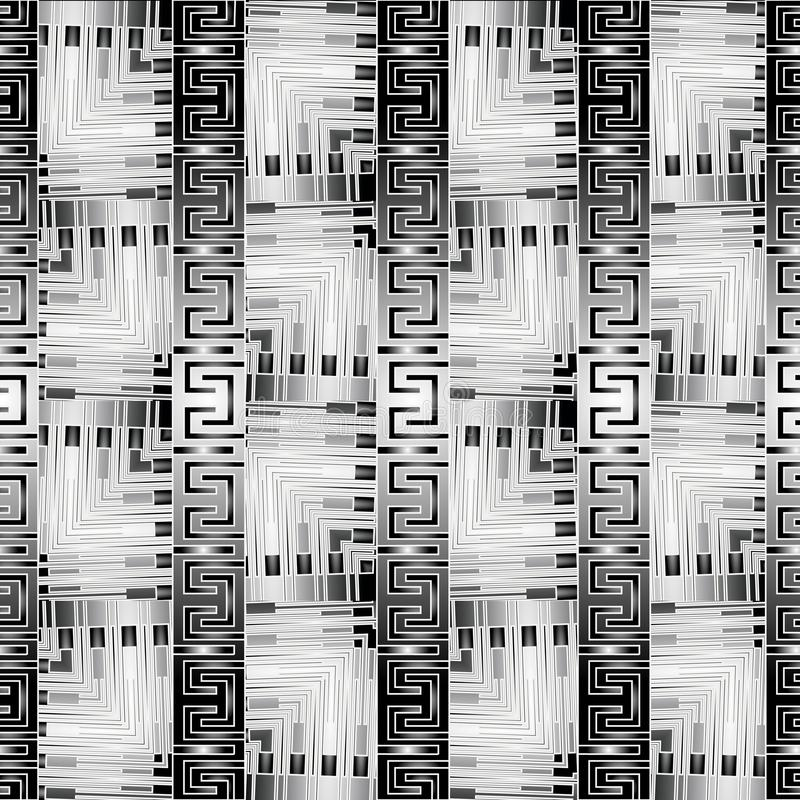 Grunge striped modern greek vector seamless borders pattern. Grungy textured ornamental background. Abstract repeat black and. White ornate backdrop. Monochrome stock illustration