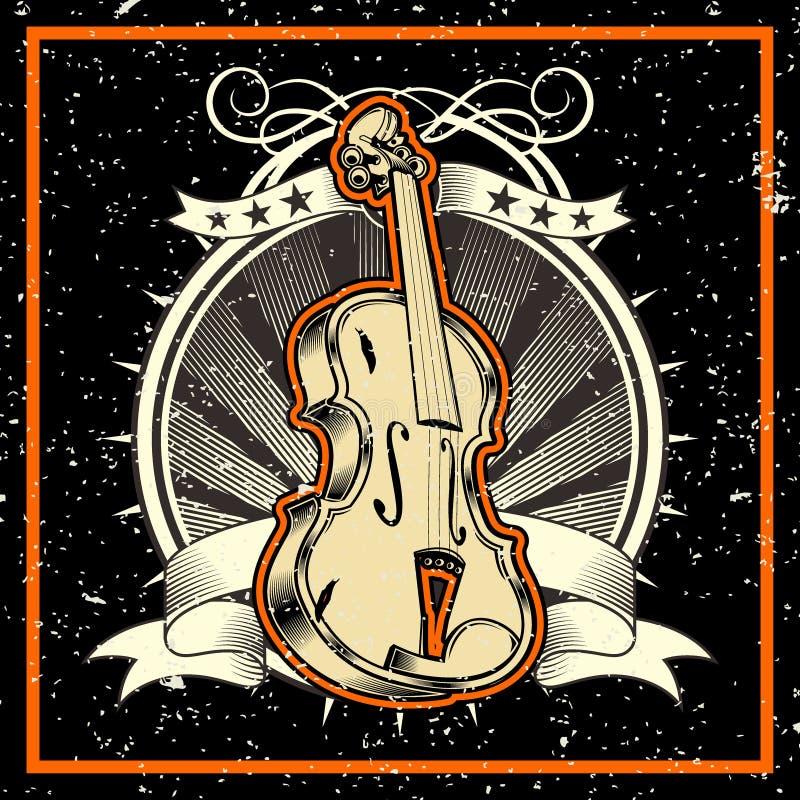 Grunge styl muzyki klasycznej pojęcia skrzypce royalty ilustracja
