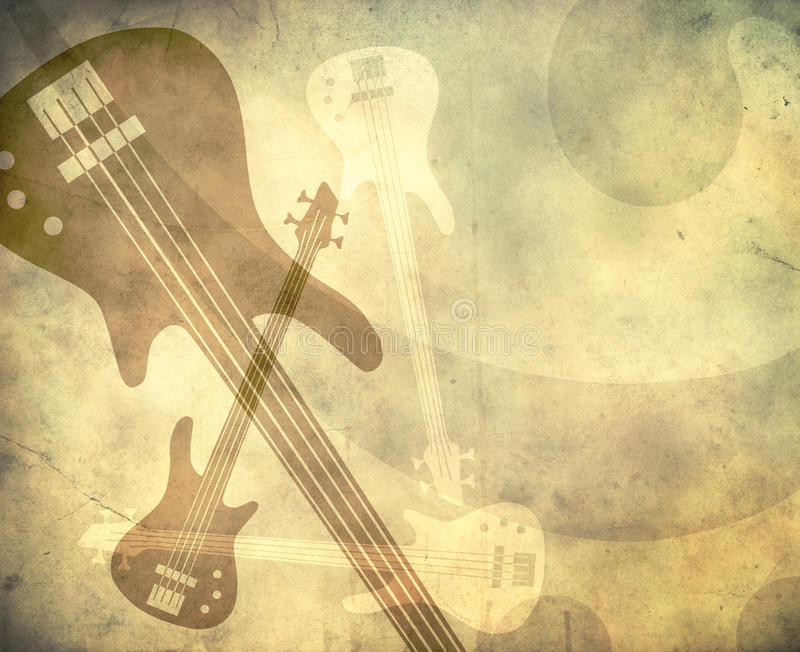 Grunge style background with guitars vector illustration