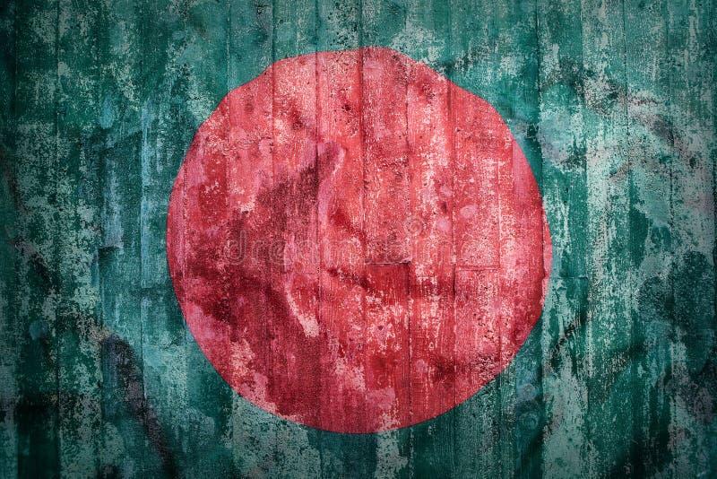 Grunge style of Bangladesh flag on a brick wall stock image