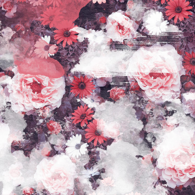 Grunge Style Brushes and Vintage Flowers Rose and Daisy royalty free stock photos