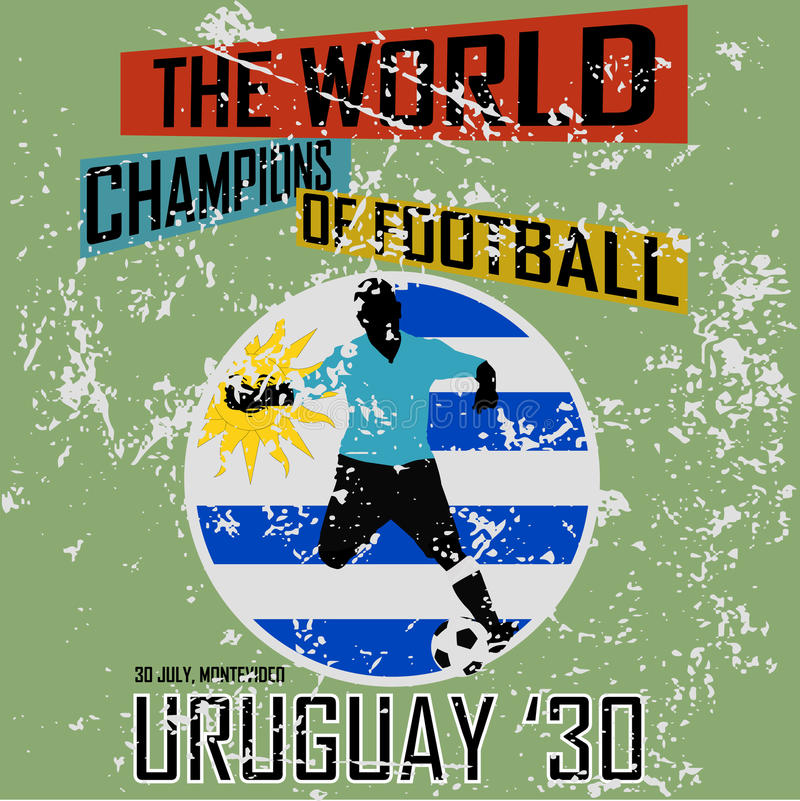 Grunge style football theme vol.1. Grunge style football theme with Uruguayan state flag on a green background wall vector illustration