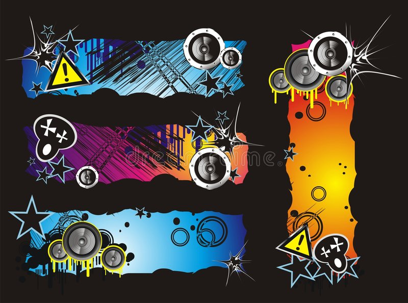 Grunge Style Music Banner stock images