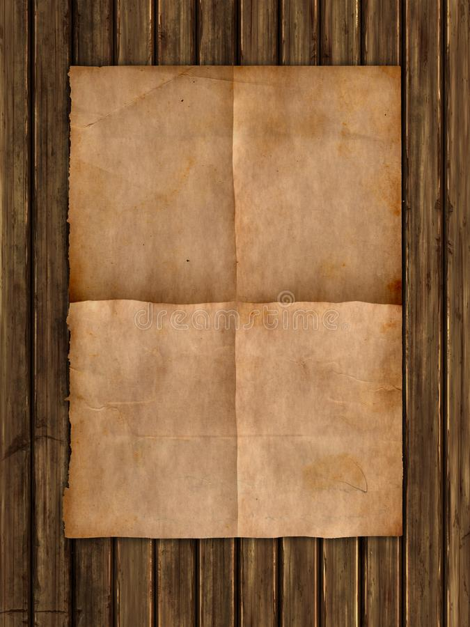 Grunge style paper on a wooden texture royalty free illustration