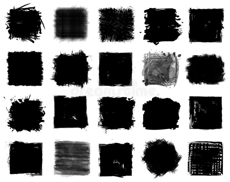 Grunge style set of square shapes . Vector.  stock illustration