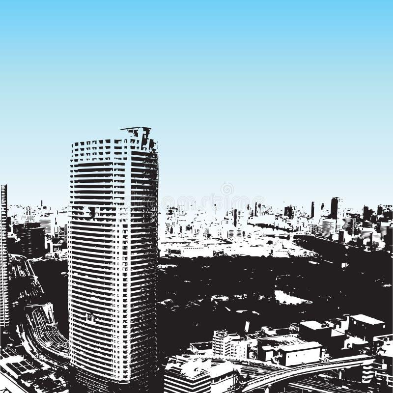 Grunge style skyscrapers vector illustration