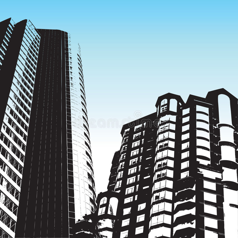 Grunge style skyscrapers stock illustration