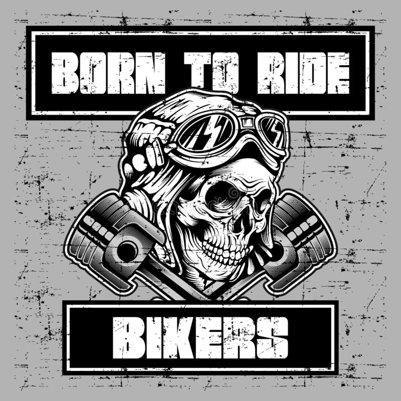 Free Grunge Style Vintage Skull Wearing Helmet Retro And Text Born To Ride Royalty Free Stock Images - 151182209