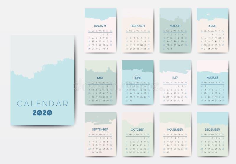 The 2020 Calendar Template Stock Vector Illustration Of Postcard