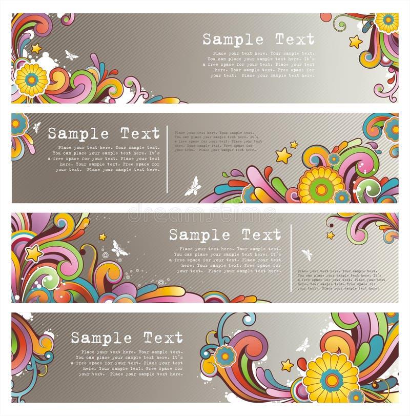 Grunge stylish colored banners stock image