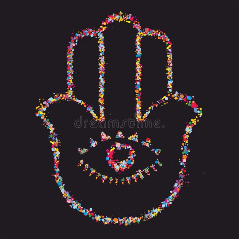 Grunge stylized colorful Hamsa on black background stock photos