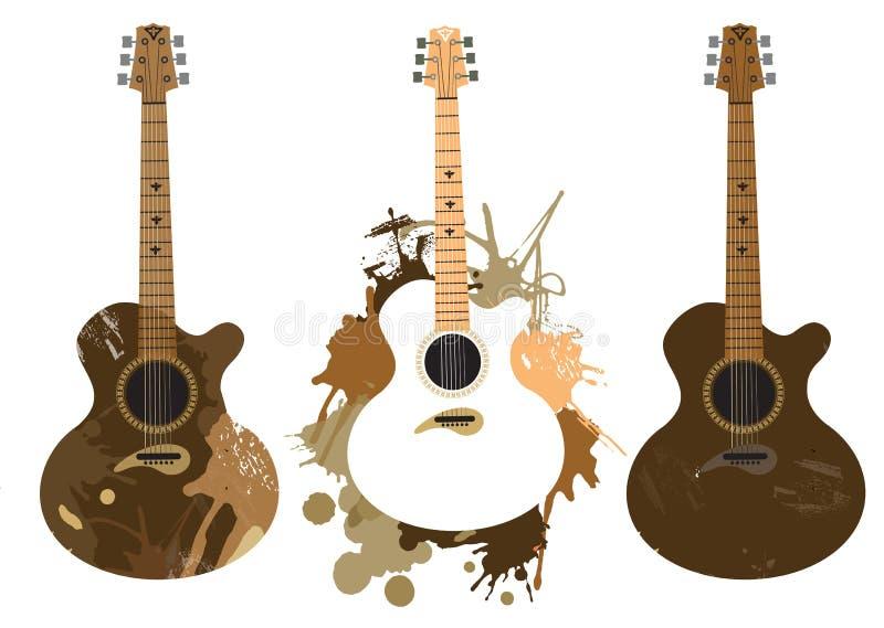 Grunge stylizowane Hiszpańskie gitary ilustracji