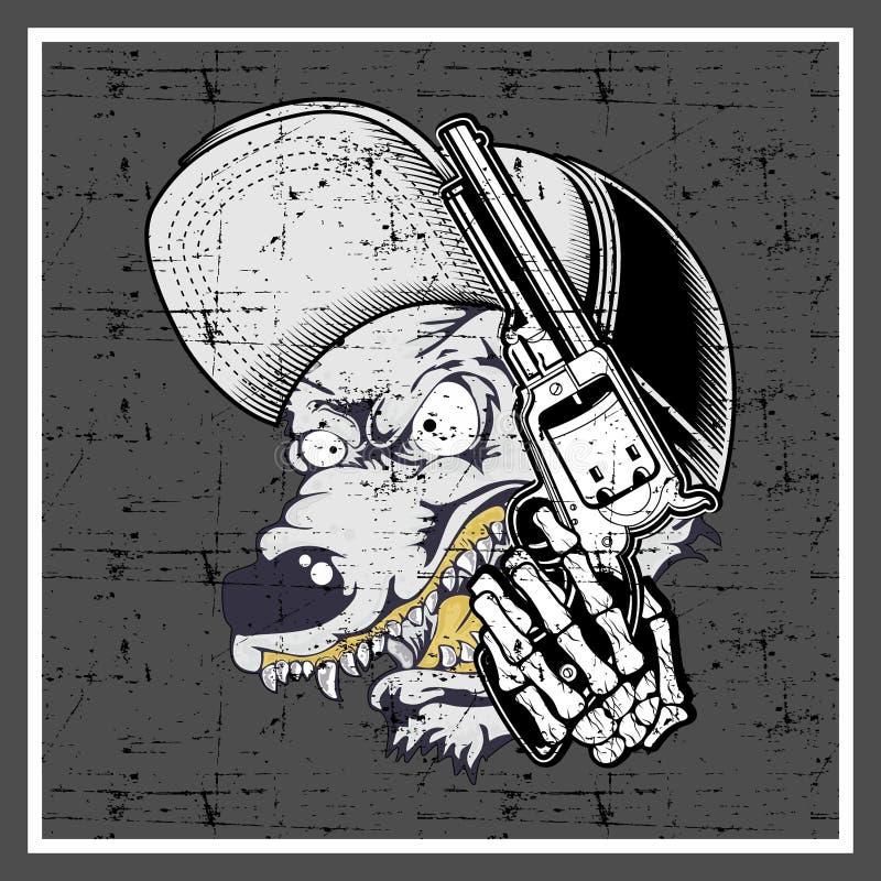 Grunge stylowa wilcza jest ubranym nakrętka i trzymać pistolet ilustracja wektor