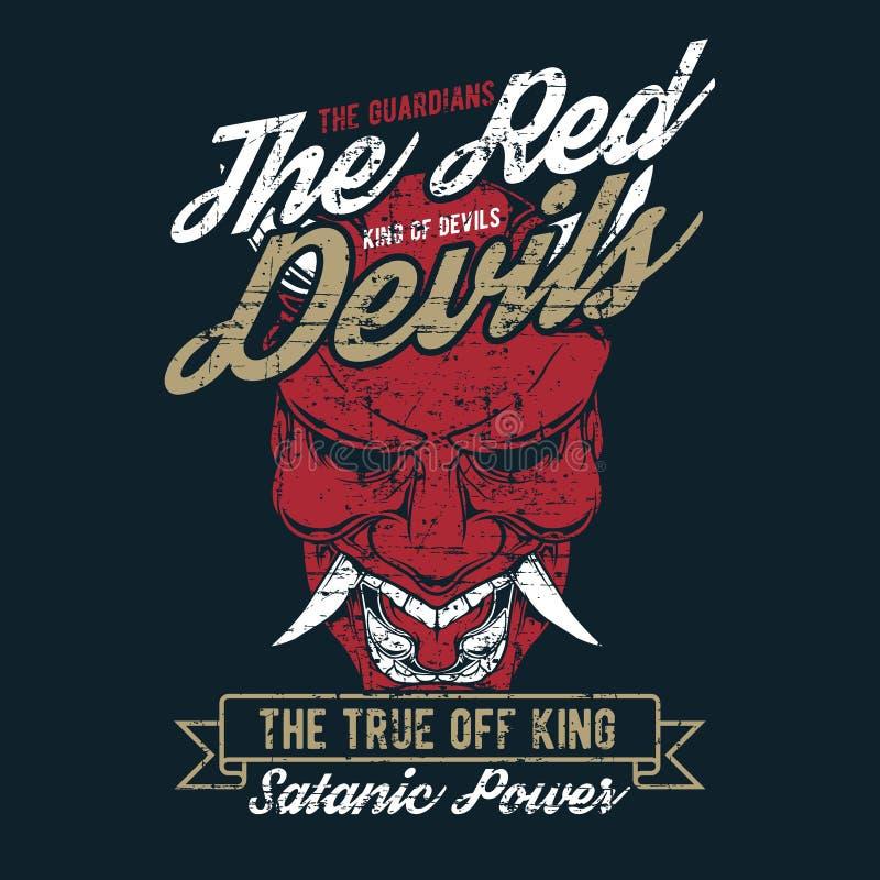 Grunge stylowy rocznik czerwonego diabła ręki rysunkowy wektor royalty ilustracja