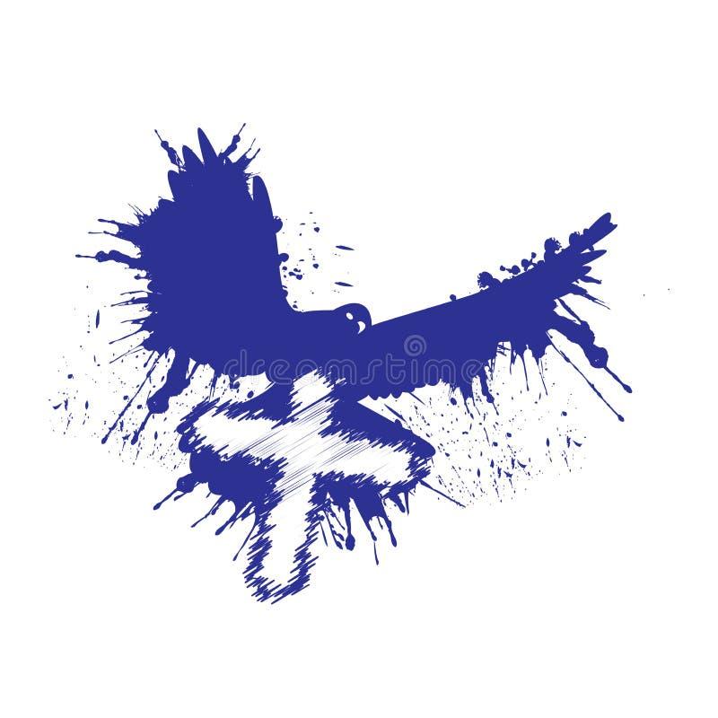 Grunge stylu gołąbka Gołąb z krzyżem ilustracyjny wektor ilustracji