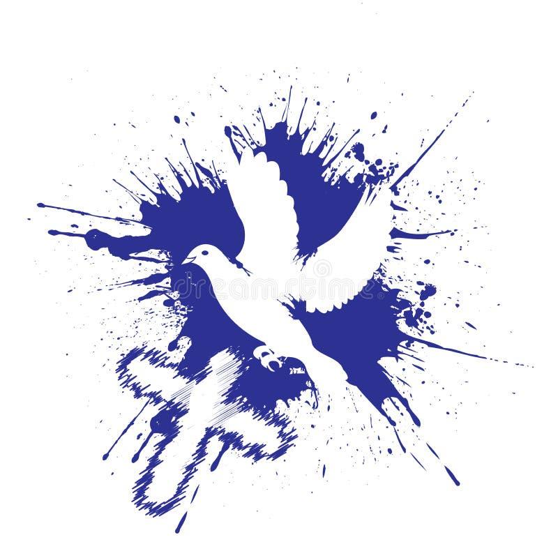 Grunge stylu gołąbka Gołąb z krzyżem Wektorowa ilustracja odizolowywająca na biały tle ilustracja wektor