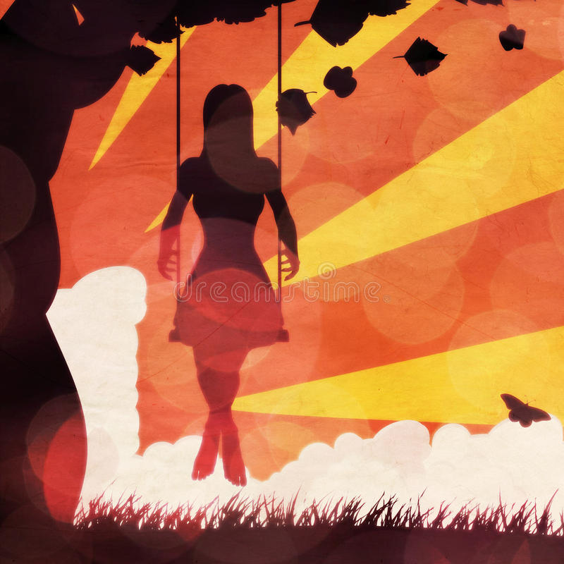 Grunge sunset girl on swing royalty free illustration