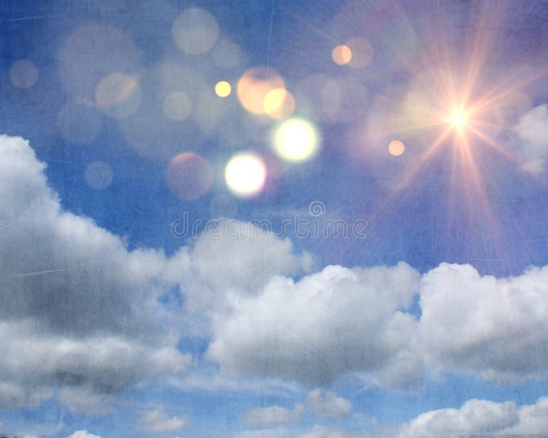 Grunge sunshine and clouds on blue sky background stock illustration