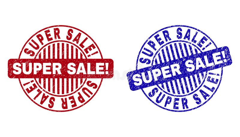 Grunge SUPER SALE! Textured Round Stamps. Grunge SUPER SALE! round stamp seals isolated on a white background. Round seals with distress texture in red and blue vector illustration