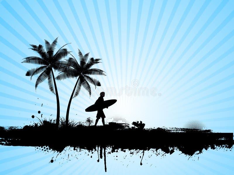 Grunge surfando ilustração royalty free